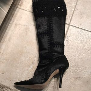 Hype Black Patch Heel Boots Size: 6.5
